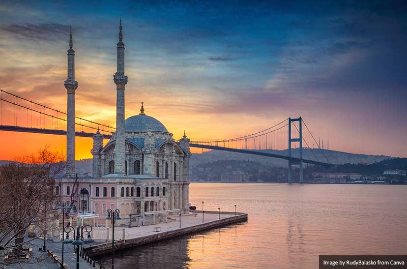 Ortaköy Mosque at sunset