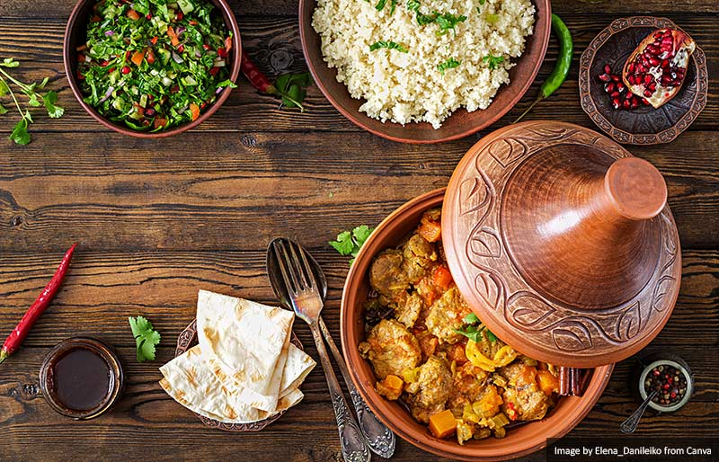 Traditional tagine dishes, couscous and fresh salad