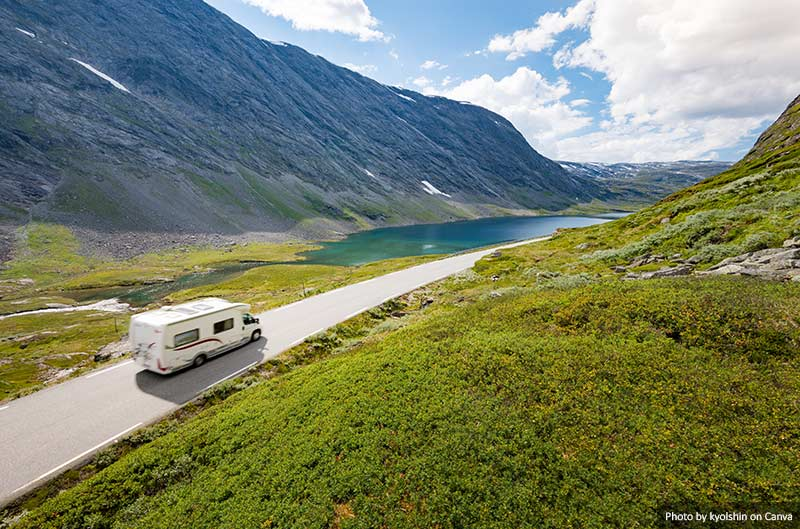 Camper on a road in Europe