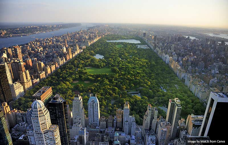 Central Park aerial view, Manhattan