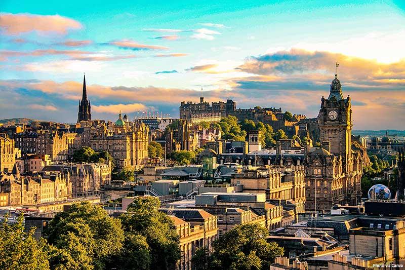 Edinburgh skyline from Calton Hill, Scotland