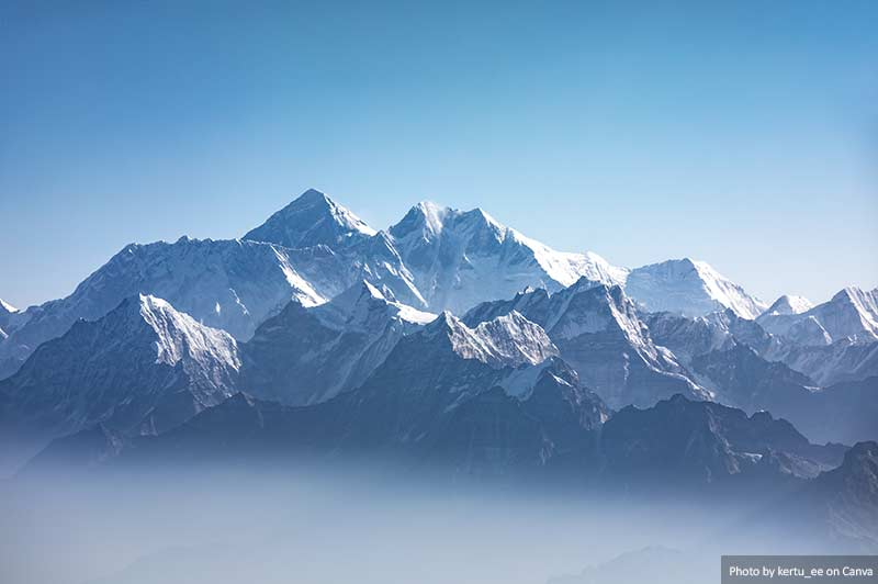Far view of Mount Everest