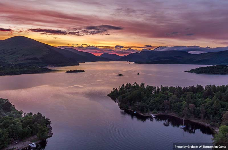 Loch Lomond Aerial Sunset