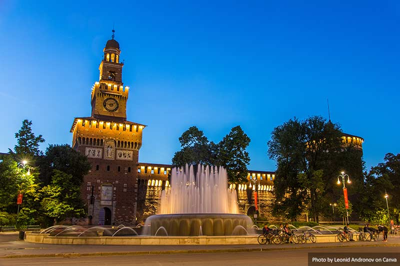 Sforza Castle at twilight