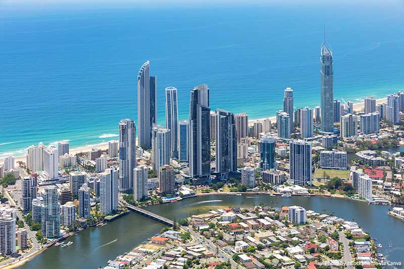 Aerial view the Gold Coast