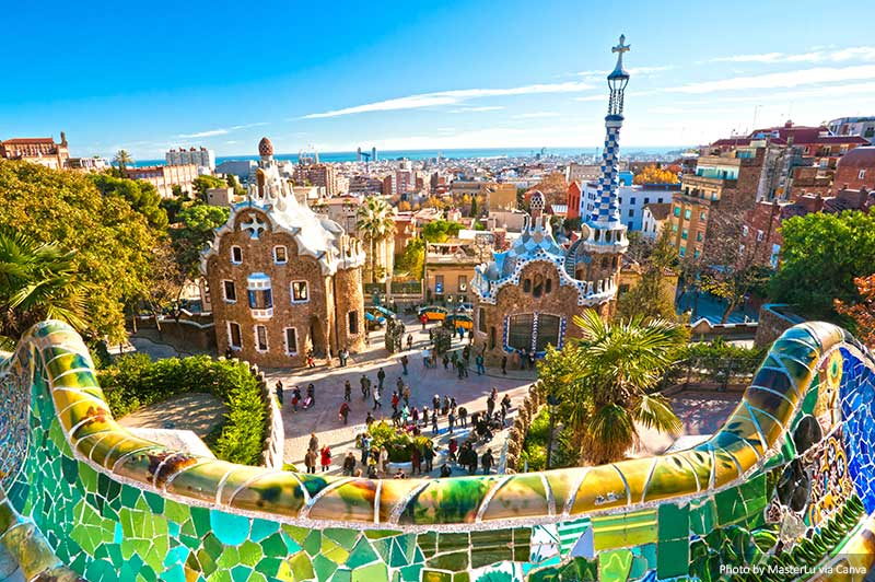 Barcelona Skyline and Park Guell