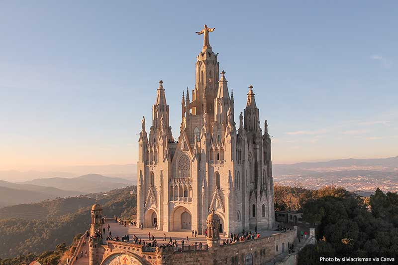 Church of the Sagrat Cor in Barcelona at sunset