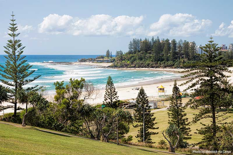 Coolangatta beach and Snapper Rocks