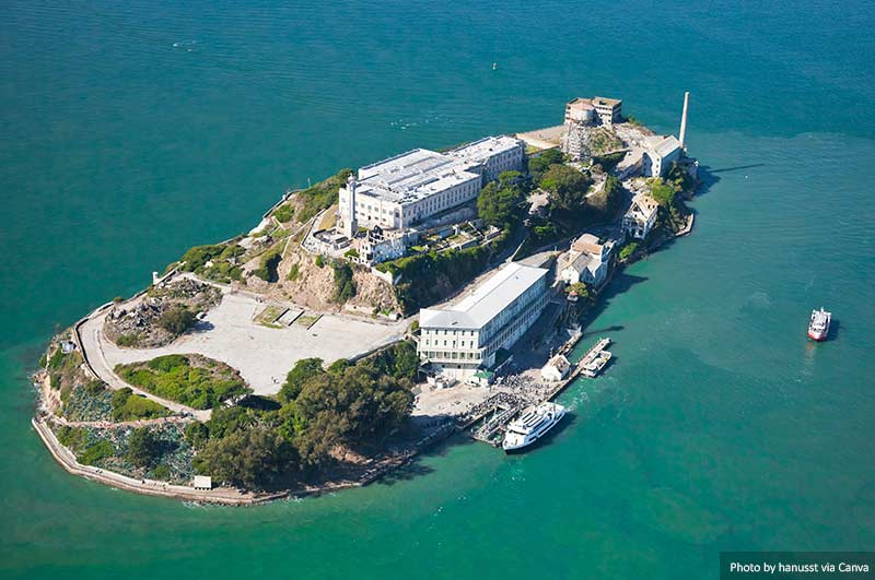 High view of Alcatraz Prison