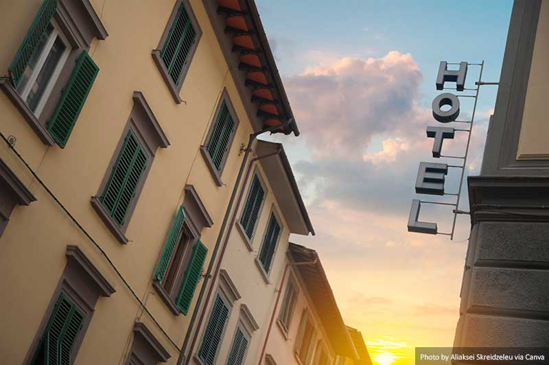 Sign for a hotel in Florence
