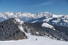 Mountains and ski resorts in the winter