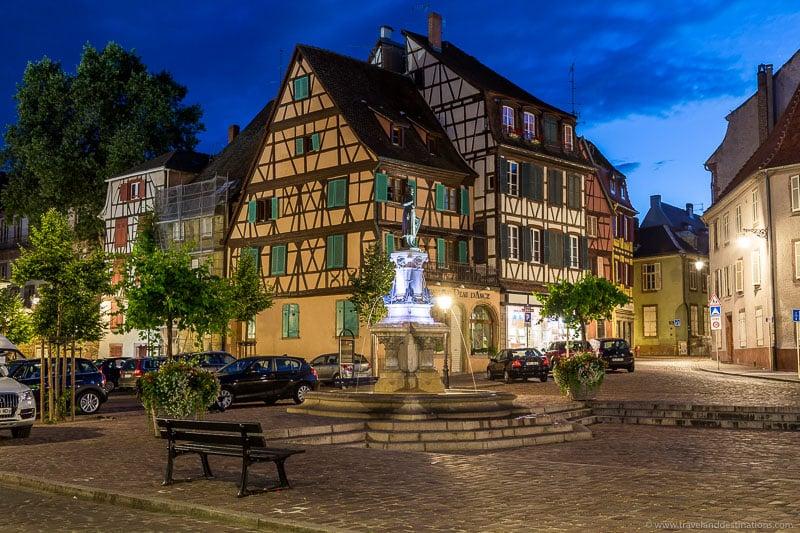 The Roesselmann Fountain, Colmar at night