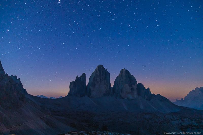 Tre Cime di Lavaredo at night with stars