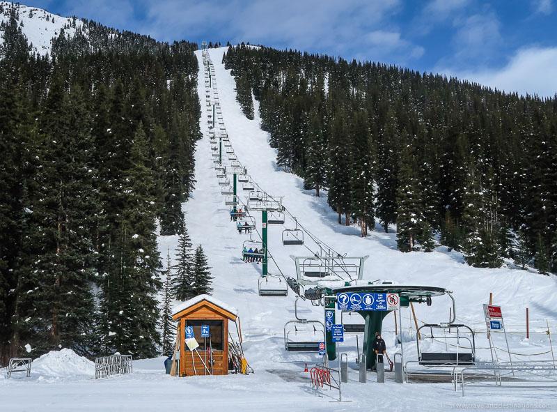 Chair lifts at a ski resort