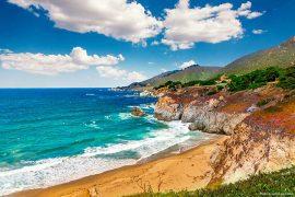 Coastline scenery on Pacific Coast Highway #1 at the US West Coast