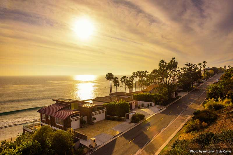 Oceanfront homes of Malibu beach