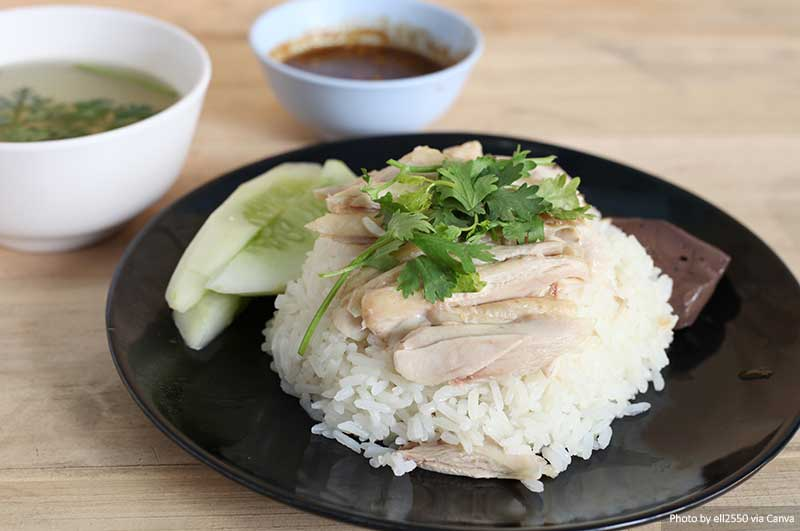 Serving of Hainanese chicken rice