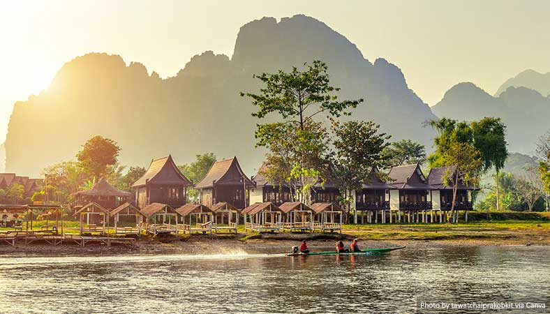 Bungalows along Nam Song River in Vang Vieng