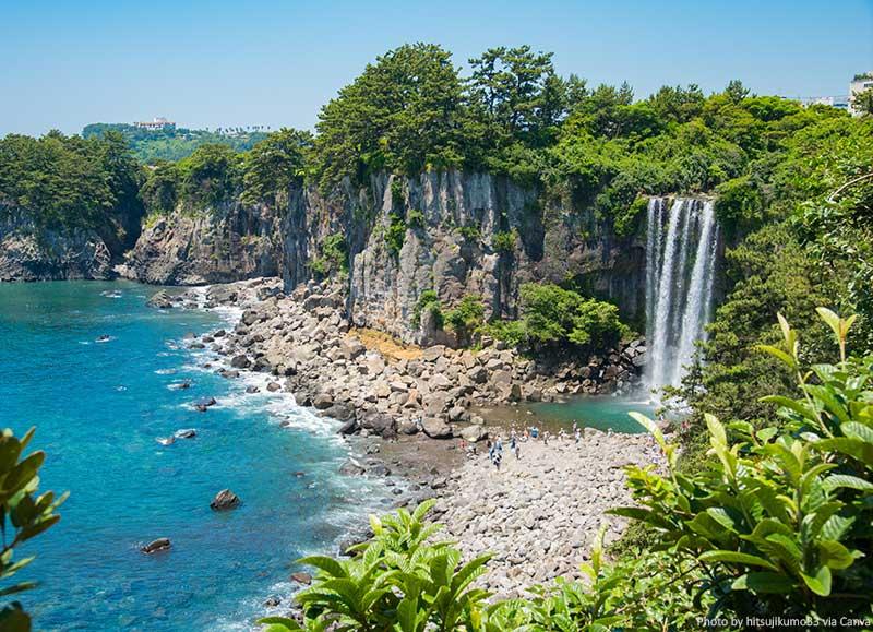 Jeju Island - scenic places - Canva - The Jeongbang Waterfall