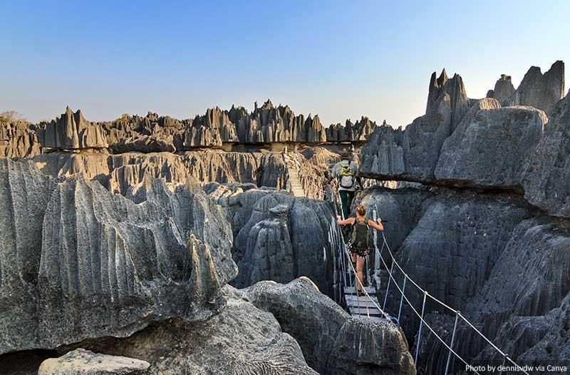 Limestone formations and bridge at Tsingy