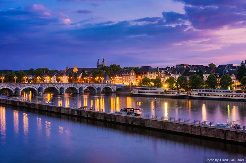 Maastricht and Maas River at twilight