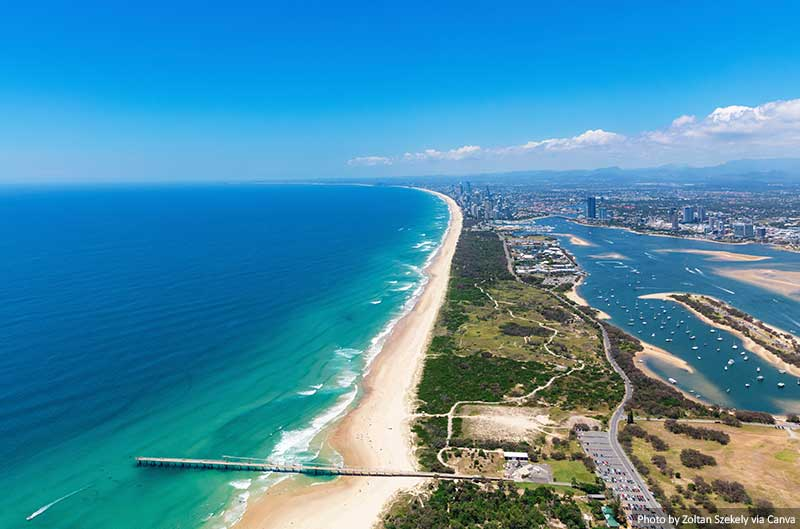 View of the Spit Looking towards Surfers Paradise