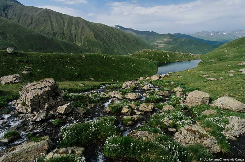 Abudelauri lake near the Chaukhi mountain range
