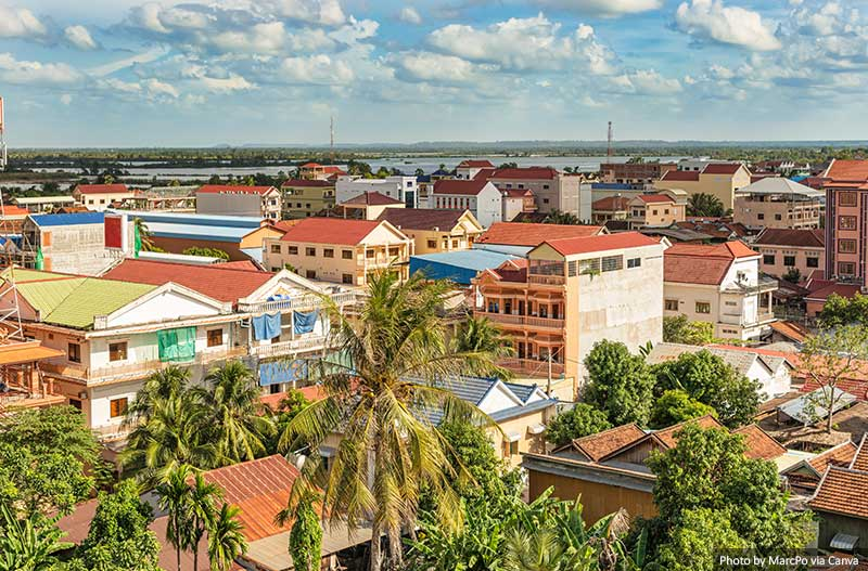 Aerial view of the city of Kratie