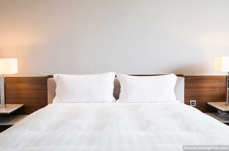 Bed and sheets in a hotel room