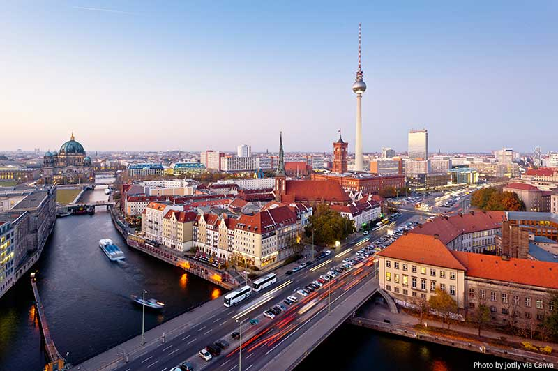 Berlin skyline at twilight