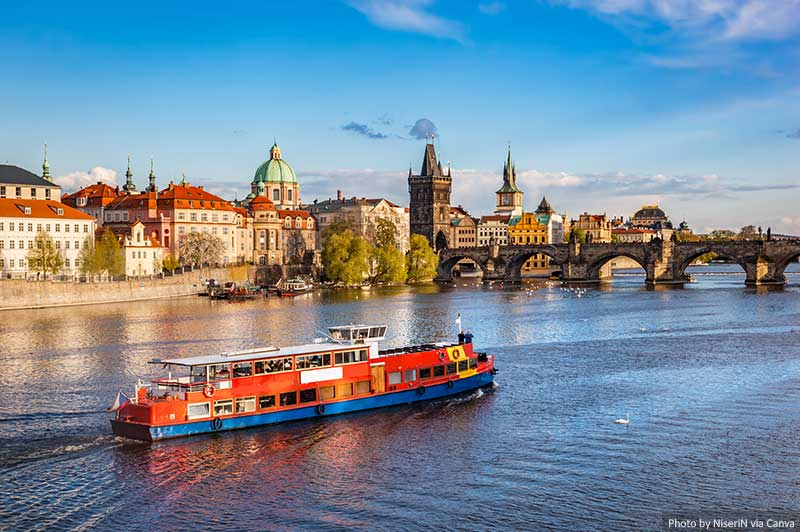 Cruise on the Vltava river in Prague