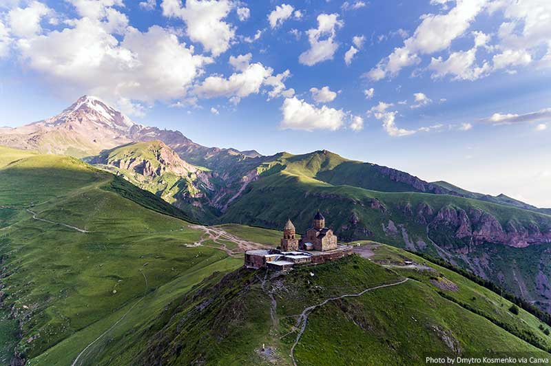 Gergeti Trinity Church and mountains in Georgia