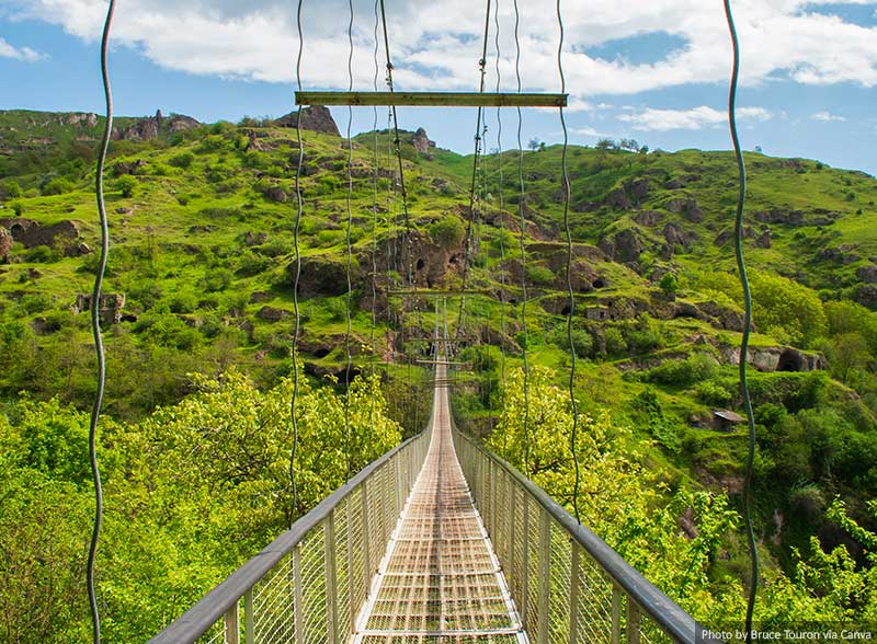 Khndzoresk Swinging Bridge and Old Cave Village in Armenia