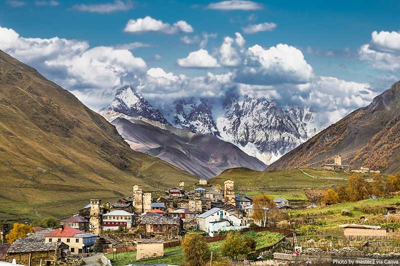 Ushguli village in Svaneti, Georgia