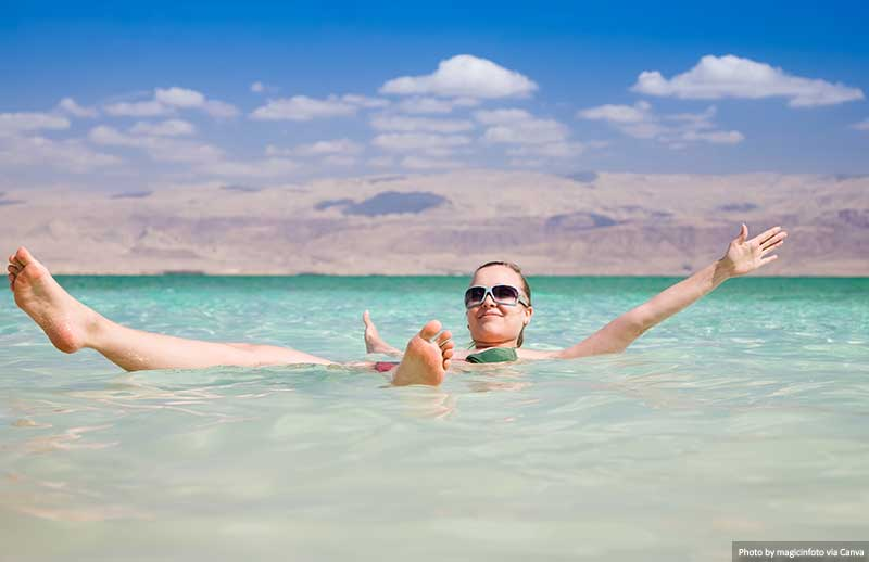 Floating on the salty waters of the Dead Sea