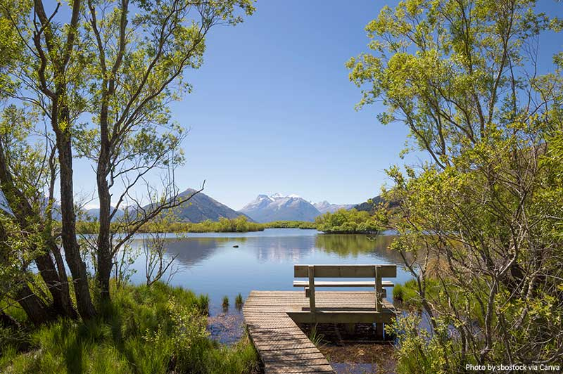 Glenorchy Lagoon and Boardwalk in New Zealand