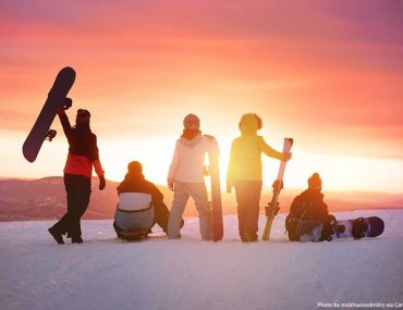 Group of happy friends at a ski resort