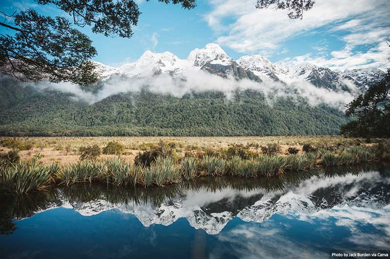 Mirror Lakes In Fiordland, NZ