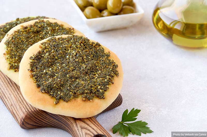 Zaatar manakeesh with olives and olive oil