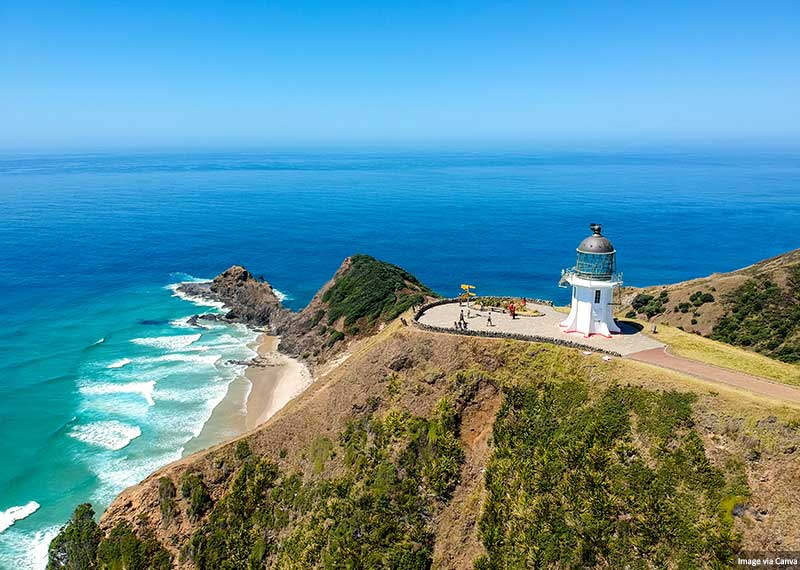 Cape Reinga Lighthouse at Cape Reinga on the North Island of New Zealand