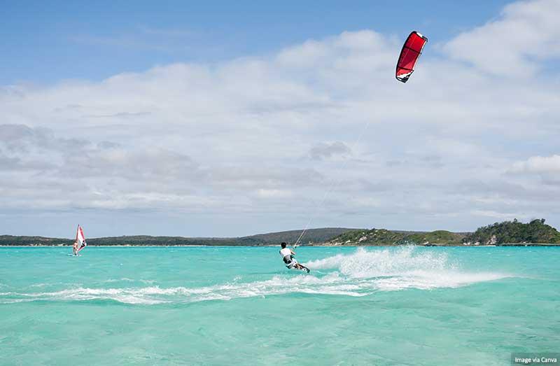 Kitesurfing in the lagoon