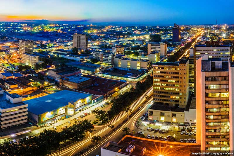 Lusaka city skyline at night
