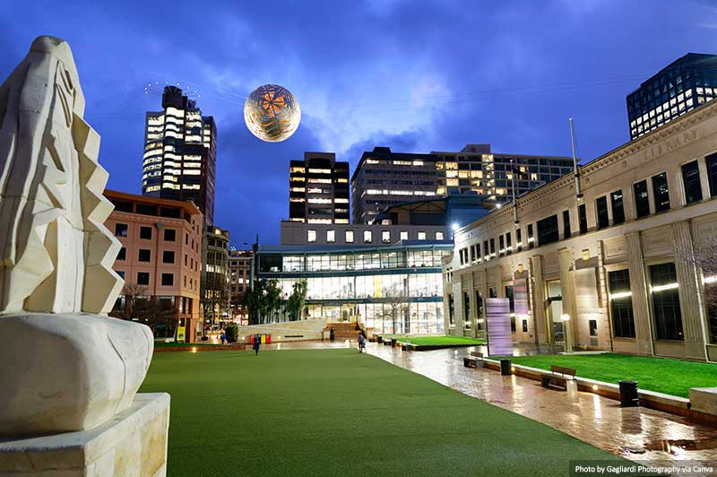 Wellington City Gallery at night and surrounding buildings