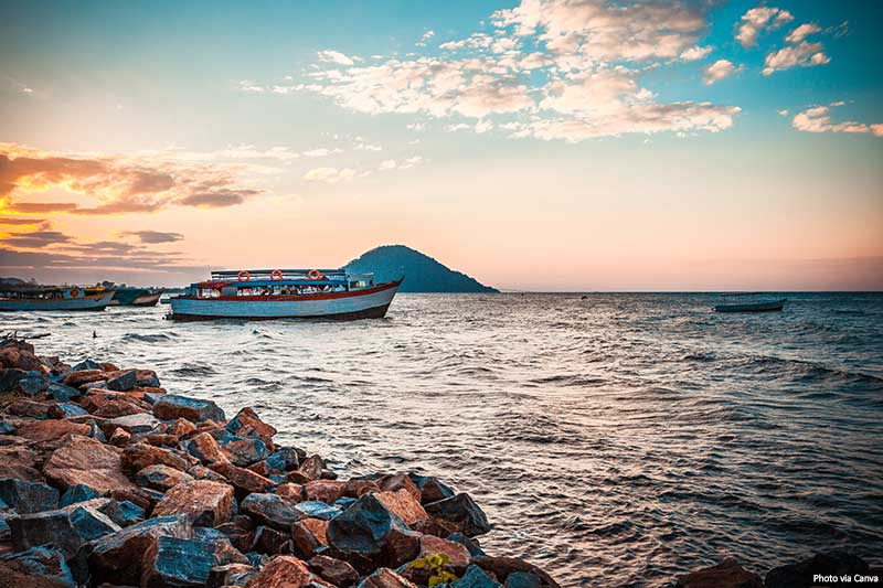 Beautiful view of the Malawi lake with a ship in the water