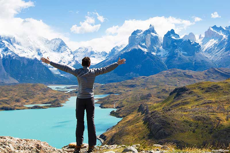 Man celebrating in Patagonia