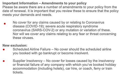 Policy exclusions example