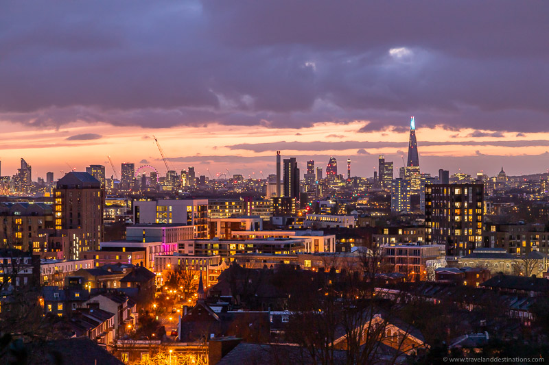 Skyline views from The Point, London at night