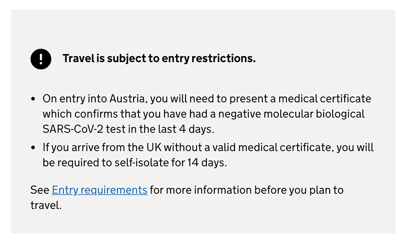 Travel advice screenshot from UK Gov - Austria Example