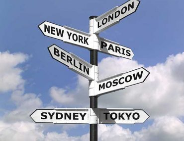 Travel signpost with city names on it