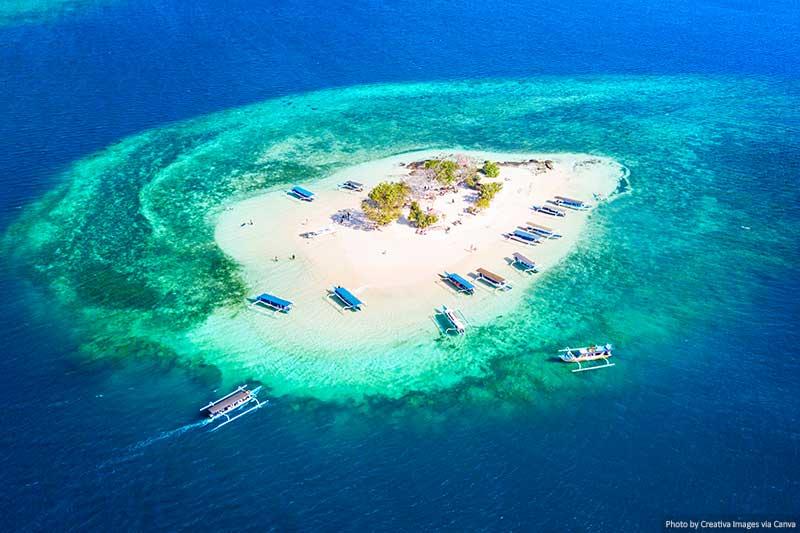 Aerial View of the beautiful Gili Kedis Island